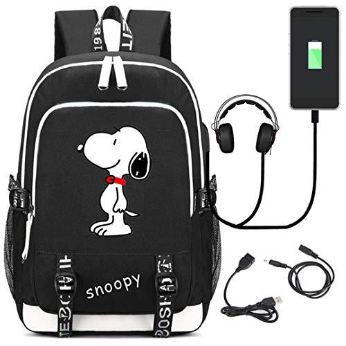 AUGYUESS Snoopy Cosplay Backpack School Bag Daypack Bookbag Shoulder Bag Laptop Bag with USB Charging Port