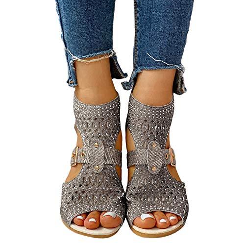 Sandalias para mujer, elegantes, 2021, sandalias de gladiador, cómodas sandalias planas para verano, playa, zapatos romanos, I