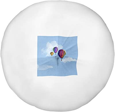 ArtVerse Katelyn Smith Watercolor Hot Air Balloons Floor Pillow - Round Tufted, 30 x 30, Blue
