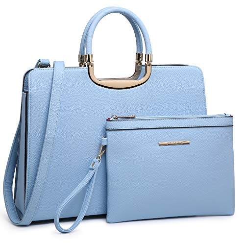 Women's Fashion Handbag Shoulder Bag Hinged Top Handle Tote Satchel Purse Work Bag with Matching Wallet (5-pebbled Light Blue Pouch Set)