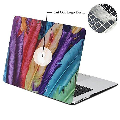 Rinbers 3D-Druck Ultraflache Soft-Touch-Hartschalen-Hülle mit Schnappverschluss oben & unten für MacBook Air 11 11,6 Zoll (A1370 & A1465) - Bunte Feder