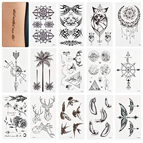 WOWOSS 60 Hojas Tatuajes Temporales para Adultos Pegatinas de Tatuajes Falsos Impermeables para Brazo, Pierna y Cara 105 x 60 mm (diseños variados)
