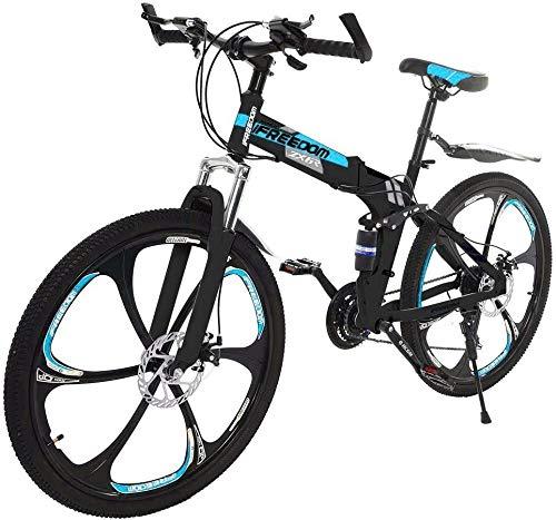 SYCY Bicicleta de montaña de 26 Pulgadas Plegable MTB 21 velocidades Bicicleta de suspensión Completa Ciclismo al Aire Libre Bicicletas de Carretera para Adultos Hombres Mujeres