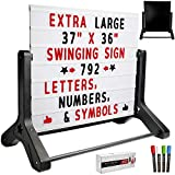 Swinging Changable Message Sidewalk Sign: 37' x 36' Sign with 792 Pre-Cut Double Sided Letters and Storage Box. Includes Black Sign Board & 4 Liquid Chalkboard & Letter Board