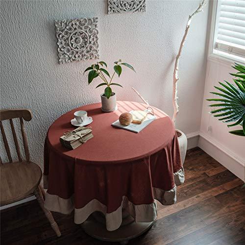Mantel Redondo De Color Sólido Rojo del Hotel Casero, Mantel Redondo De Encaje De Hoja De Loto De Lino De Poliéster, Mantel Redondo Que Se Puede Lavar Diameter150cm