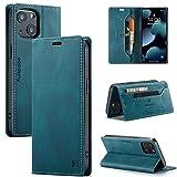 uslion Funda para iPhone 13 RFID, funda protectora para teléfono móvil, tarjetero, billetera, cierre magnético, funda de piel para iPhone 13, color azul