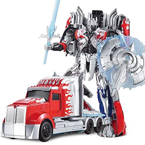 ZHJNBY Transformer Giocattolo Platinum Edition Optimus Prime Silver Knight KO Version Action Figure da 12,2 Pollici