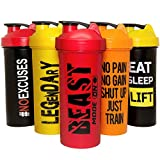 JEELA SPORTS Protein Shaker Bottles 5 Pack - 24 Oz- Protein Blender Cups with Shakers Ball - Shake Bottle set - Bpa free cup - Powder Mixer for mixes - Leakproof shakes lids - Workout - Motivational Design