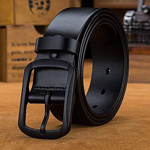 Riem voor heren Men's Black Buckle Belt Classic Jeans Dress Zaken Alloy zachtleren Pin Buckle Belt Zakelijke kansen, woon-werkverkeer (Color : Black, Size : 125 cm)