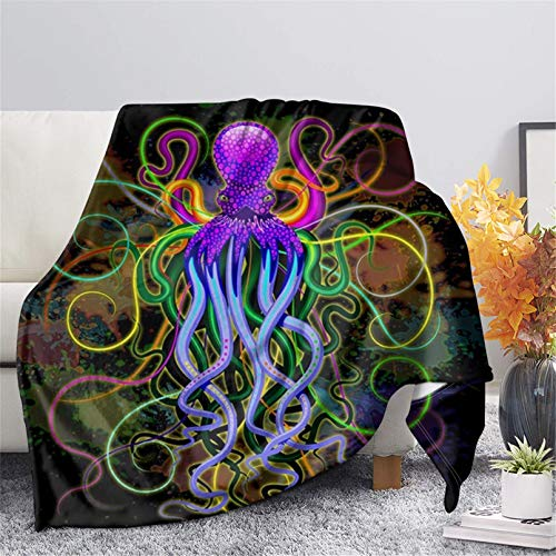 FUSURIRE Funny Throw Blankets with Purple Octopus Cartoon for Bed Sofa Couch Blue Fleece Blankets Lightweight Soft Cozy Bed Blanket for Kids Adults, X-Small Size