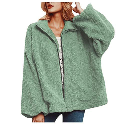 KPILP Frauen Pullover Fleece Langarm Oversize Mantel Jacke Mode Herbst Winter Sweatjacke Reißverschluss Sweatshirt Mantel Revers Plüschjacke Outdoormantel
