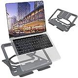 TECOOL Soporte Portátil, Ergónomico Ajustable Aluminio Ventilado Plegable Soporte Ordenador Portátil para Macbook Pro, Air Todas Las Tabletas/Computadoras Portátiles de 9,7'~16'- (Gris)