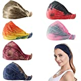 Carede Tie Dye Bandana Headband for Women and Girls with Wide Cotton Stretchy Sport Headbands Elastic Yoga Hairband Vintage Hair Accessories,Pack of 6