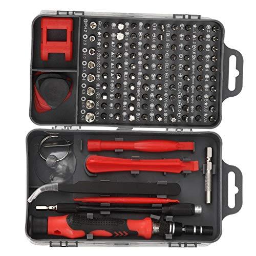 KUIDAMOS Punta de Destornillador Duradera 115 en 1 Precisión 17 Piezas Accesorios de extracción, PC, Tableta, Herramienta de Mano de extracción de teléfono(Red)