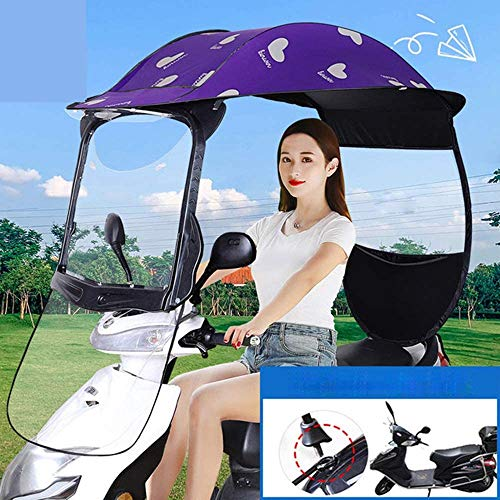 LLZYL Motorrad-Regen-Abdeckung, Semi-Closed-Motorrad-Roller Sonnenblende Und Regen-Abdeckung Wasserdicht, Universal-Roller-Fahrrad-wasserdichte Regenschirm, Lila,Lila