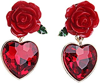 JUESJ Personality Red Flower Heart Gem Pendant Stud Earrings for Women Girls Wedding Accessories