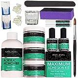Karlash Professional Acrylic Nail Kit System (No MMA Liquid Monomer 8oz, Clear Powder 2oz, Natural Pink Powder 2oz, French White Powder 2oz, Nail Prep, Nail Bond, Acrylic Brush)