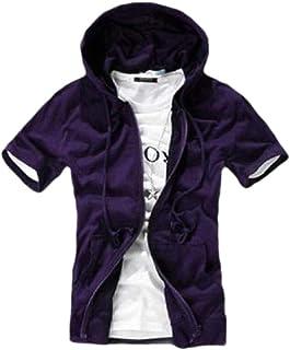 XINHEO Mens Loose Fit Short Sleeve Solid Zipper with Hood Sweatshirt