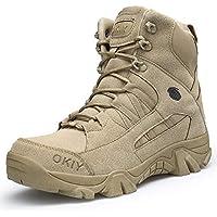 AONEGOLD Hombres Botas de Senderismo Zapatos de Trekking Botas Tácticas Transpirables Militar Senderismo Zapatos Botas de Invierno(Caqui,42 EU)