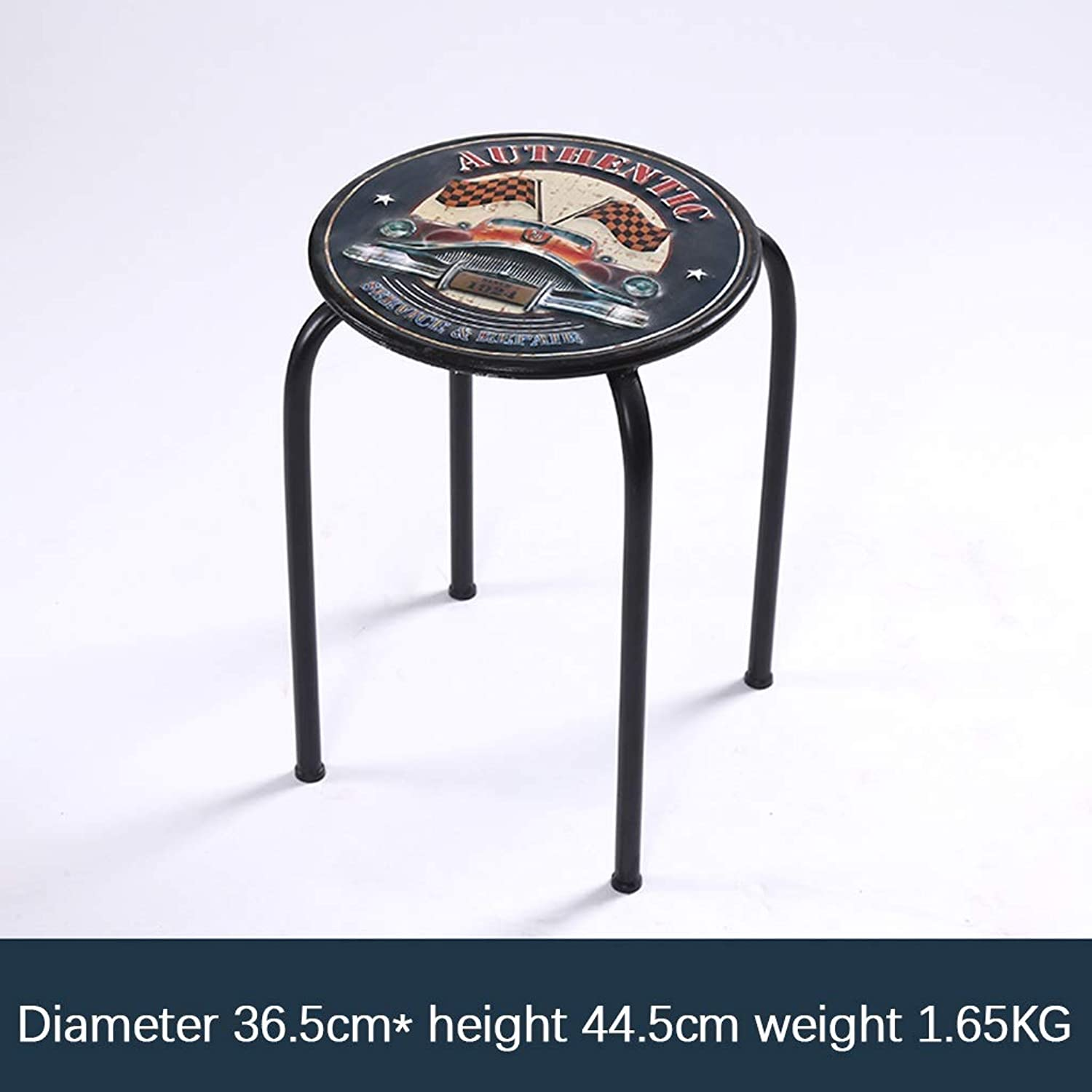 Iron Art Retro Round Bar Stool Simple Personality Dining Table Counter Chairs Metal Seat Cafe Household 0522A (color   A)