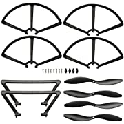 """Force1 Rogue Drone Replacement Parts - """"Crash Pack"""" Includes 4 Propellers with Caps 4 Propeller Guards 2 Landing Skids and 8 Screws for Force1 F72 Rogue Quadcopter Drone"""