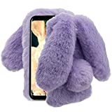 Aearl Samsung Galaxy Note 9 Case,Samsung Galaxy Note 9 Rabbit Fur Ball Case,Luxury Cute 3D Homemade Diamond Winter Soft Furry Fluffy Fuzzy Bunny Ear Plush Back Phone Case Cover for Girls Women-Purple