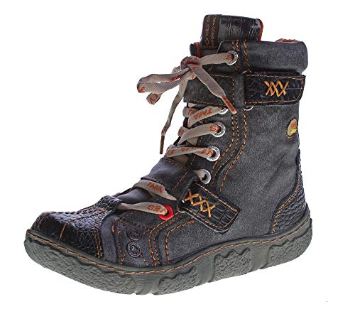 TMA Damen Winter Stiefeletten echt Leder gefüttert Comfort Stiefel 7087 Schuhe Boots Schwarz Gr. 36