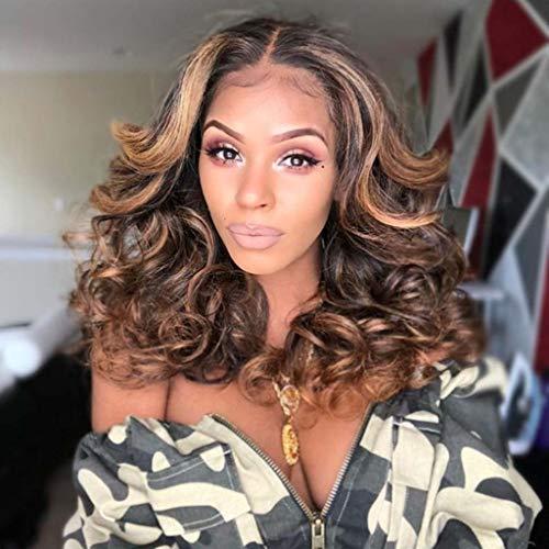 LUGEUK Perruque Lady Gradient Longs Cheveux Frisés Rose Net Wig Set 50cm