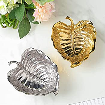 Gold or Silver Leaf Decorative Tray – Premium Ceramic Table Centerpiece – Leaf-Shaped Serving Bowl for Candy Fruits Jewelry – Elegant and Modern Trinket Dish for Kitchen Living Room Bedroom  gold