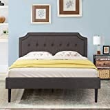 VECELO Premium Upholstered Platform Bed Diamond Stitched Panel Headboard, Metal Frame & 12 Strong Wood Slat Support, Mattress Foundation/Easy Assembly,Queen, Gray