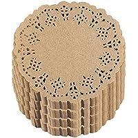 Juvale Tapetes de papel de encaje redondo (paquete de 1000) Manteles individuales de papel decorativo a granel para postres y exhibición de productos horneados - Marrón, 4 pulgadas de diámetro