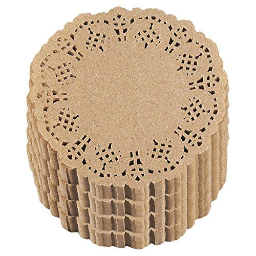 Papierdeckchen von Juvale (Set, 1000 Stück) - Einweg-Zierdeckchen für Törtchen, Petit Fours, Kekse oder als Untersetzer - Ideal für Hochzeiten, Formelle Events - Recyclebar - Braun- 10,2cm