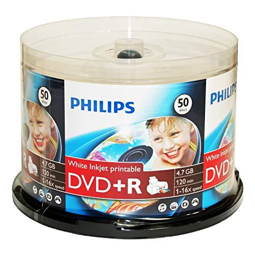 Philips White Inkjet Printable 16X DVD+R Media 50 Pack in Cake Box (DR4I6B50F/17)