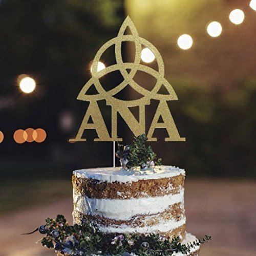 Triquetra Personalized Name Cake Topper, Trinity Cake Topper, Triquetra Toppers, Celtic Gift, Sacred Geometric, Celestial Party Decor