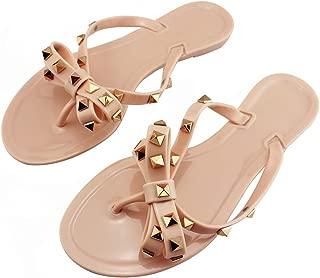 utop Women's Rivets Bowtie Flip Flops Jelly Thong Sandal Summer Beach Rain Shoes