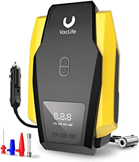 VacLife Air Compressor Tire Inflator, DC 12V Portable Air Compressor for Car Tires, Auto Tire Pump with LED Light, Digital Air Pump for Car Tires, Bicycles and Other Inflatables