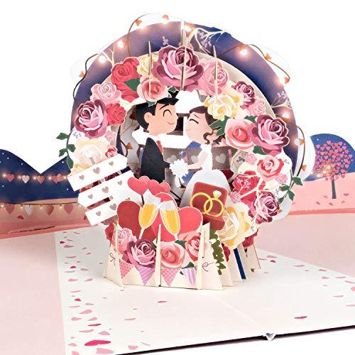PaperCrush® Pop-Up Karte Hochzeit Brautpaar - Lustige 3D Hochzeitskarte, Geschenkkarte für Standesamt - Romantische Glückwunschkarte zum Hochzeitstag inkl. Umschlag
