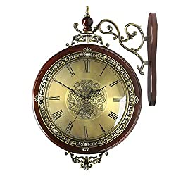 YONGMEI Wall Clock - European Double-Sided Wall Clock Living Room Mute Wooden Wall Charts Creative Classic Two-Sided Clock American Classical Quartz Clock Clock (Color : Brown, Size : 49.536cm)