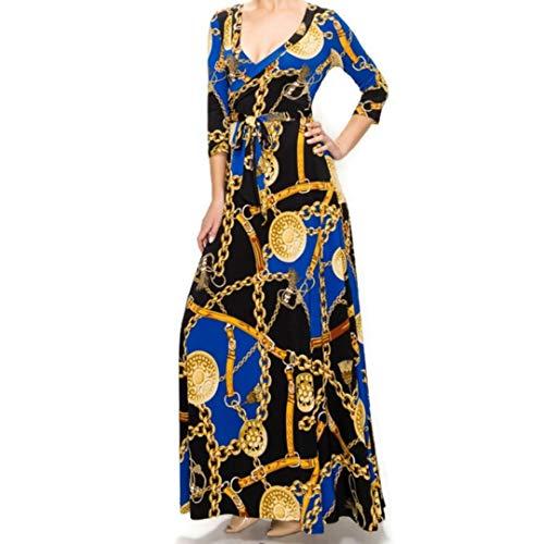 Janette Fashion Royal Blue Gold Chain Buckle Tassel Faux Wrap Maxi Dress