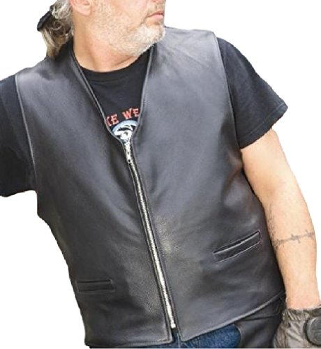 REED Men's Naked Cow Leather Motorcycle Vest Made in USA (S, Black)