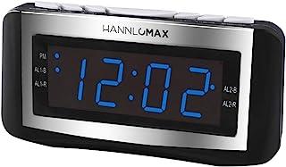 HANNLOMAX HX-117CR Alarm Clock Radio, PLL AM/FM Radio, Blue LED 1.2 Inches Display, Dual Alarms, Alarm Wake Up to Radio or...
