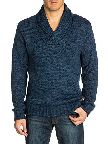 Quiksilver Chester - Pull - Uni - Col châle - Manches longues - Homme - Bleu (Washed Navy) - Small (Taille fabricant: S)