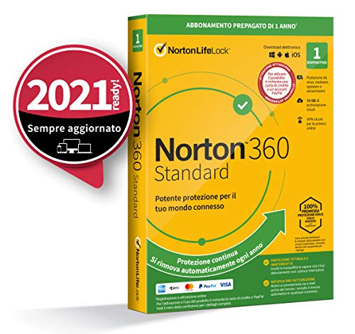Norton 360 Standard 2021, Antivirus per 1 Dispositivo, Licenza di 1 anno con rinnovo automatico, Secure VPN e Password Manager, PC, Mac, tablet e smartphone