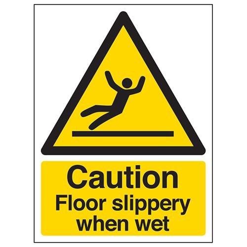 Señal de advertencia VSafety Caution Floor Slippery When Wet – 150 mm x 200 mm – plástico rígido de 1 mm