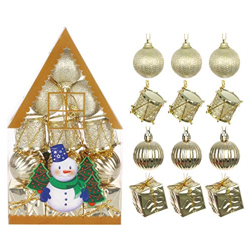 Janly Clearance Sale 12Pcs Christmas Balls Ornaments for Xmas Christmas Tree - 4 Style Shatterproof, Home Decor for Xmas 2020 Decoration (C)
