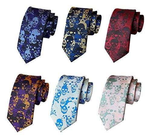 Herren Unisex Totenkopf-Krawatte, Skelett, Halloween, lustig, schmal, 6 Stück - mehrfarbig - Einheitsgröße