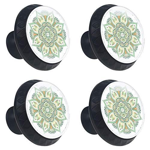 LG Light Green Virtual Armario Manija Lente cristalina convexa con figura 3D Pantalla para cajón Armario Tire de la manija Perillas elegantes para decorar Kidsroom Gabinete de cocina Paquete de 4