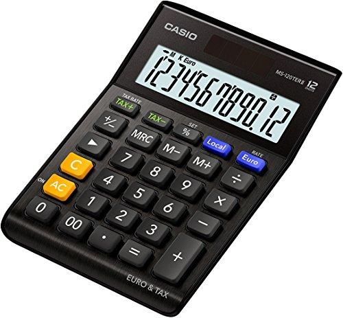 CASIO Tischrechner MS-120TERII, 12-stellig, Steuerberechnung, Währungsumrechnung, Aluminiumfront, Solar-/Batteriebetrieb