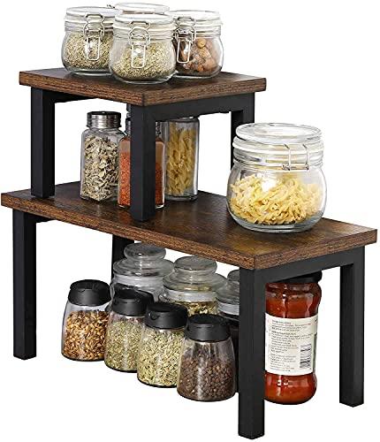 OROPY Set mit 2 Stapelbaren Küchenregale stehend auf Arbeitsplatte, Regaleinsatz für Küchenschrank, freistehender Küchenschranck Organizer, Aufbewahrung für Küchenutensilien, Gewürzdosen-Rustikalbraun