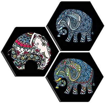 SAF Set of 3 Hexagon Elephant Modern Art MDF Board UV Textured Painting 17 Inch X 17 Inch SANFHXS30380